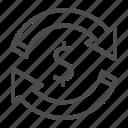 currency, dollar, bank, arrow, money, circulation, cashflow