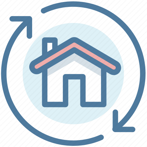 Arrows, exchange, home, house, re-finance, real estate icon - Download on Iconfinder