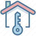 house, key, label, rent icon