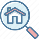 apartment, find, house, magnifier, search, view