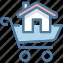 buy, cart, house, shopping