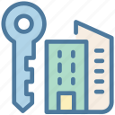 accomodation, apartment, house, key, skyscrapers icon