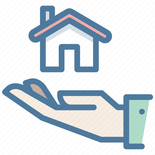 hand, house, insurance, property, protection, safety icon