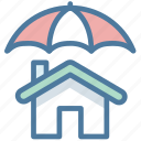 home insurance, house, protection, safe, shield, umbrella