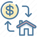 buy, exchange, house, money icon