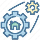 build, cog, gear, home, house, options, setting