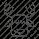 deer, christmas, head, horn, animal, sleep, ear