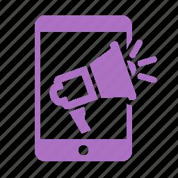 ads, advertisment, bullhorn, business, communication, connection, internet, loud, marketing, media, megaphone, mobile, network, online marketing, phone, promoting, promotion, seo, smartphone, speaker, speech, telephone, web icon