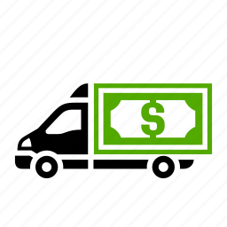 bank, banknote, cash, dilivery track, dollar, transport icon