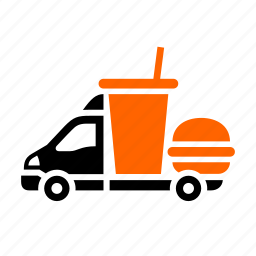 burger, coke, dilivery track, drink, fast food, transport icon
