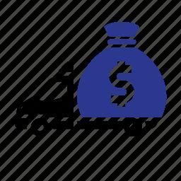 bag money, cash, dilivery track, dollar, finance, transport icon