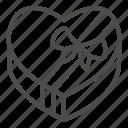 candy, heart, box, valentine, sweet, love, ribbon