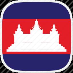 cambodia, flag, kh icon
