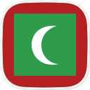 flag, maldives, mv icon