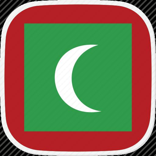flag, maldives, mv icon