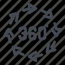 360 degree, 360 view, arrow, degree, panorama, rotate, view icon