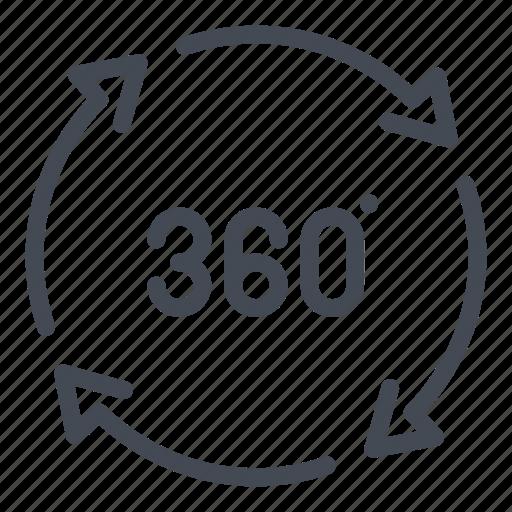 360 degree, 360 view, degree, panorama, rotate, rotation, view icon