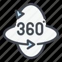 degree, reality, rotate, rotation, view, virtual icon