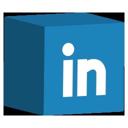 cube, linkedin, media, set, social icon
