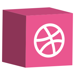 cube, dribbble, media, set, social icon