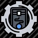 3d, gadget, gear, optimization, print, printer, technology icon