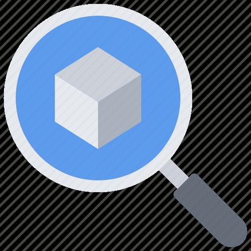 3d, cube, gadget, model, printer, search, technology icon