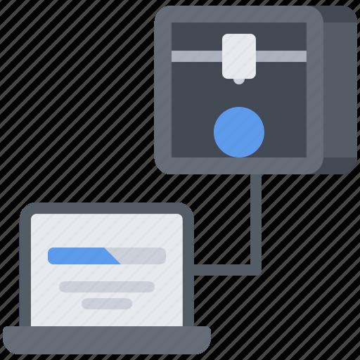 3d, gadget, laptop, loading, model, printer, technology icon