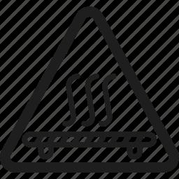 hot, machine, printing, triangle icon