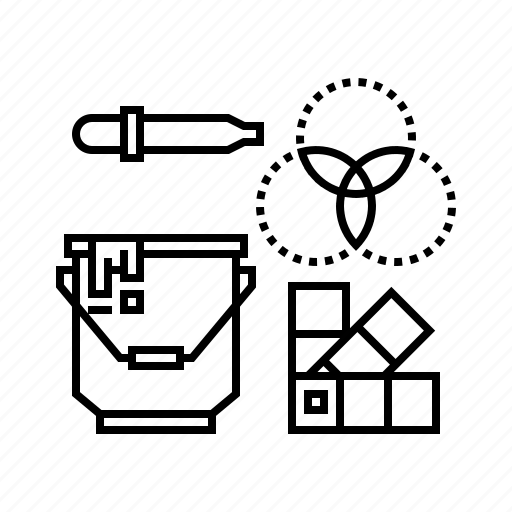 3d, bucket, color, dropper, palette, picker, tool icon