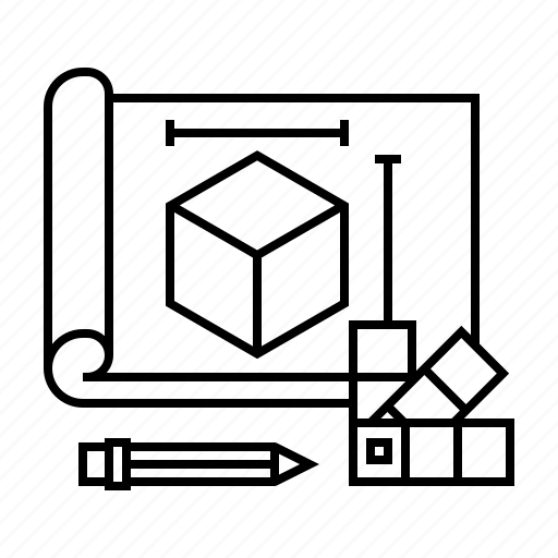 blueprint, cube, design, dimension, model, plan, project icon