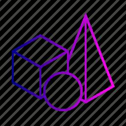 3d, cube, design, geometry, model, shape, view icon