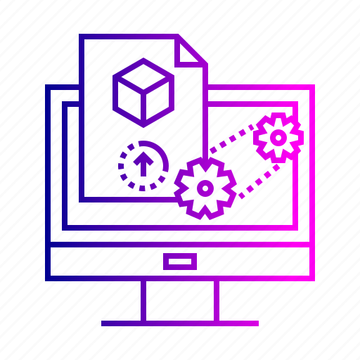 3d, generation, laptop, model, online, printing, process, system icon