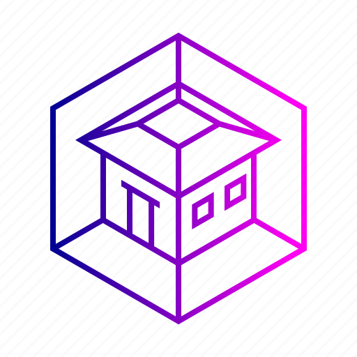 3d, abstract, dimension, house, model, view icon