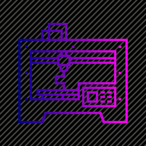 3d, electric, heat, heavy, laser, machine, printer icon