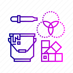 3d, bucket, color, dropper, equipment, palette, picker, tool icon