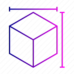 cube, design, dimension, geometry, height, measurement, width icon