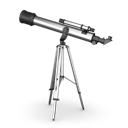 for looking at planets and stars, telescope icon