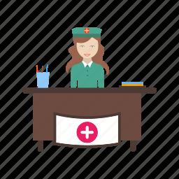 healthcare, hospital, medical, reception, receptionist icon