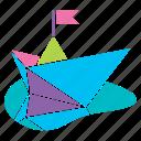 boat, paper, pastel, season, spring icon