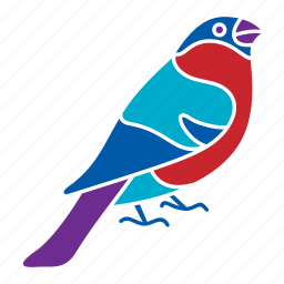 animal, bird, bullfinch, nature, season, winter icon