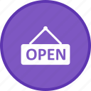 label, notification, open, sign, tag icon