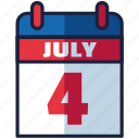 4th of july, calendar, independence day, united states, usa icon