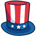 4th of july, hat, independence day, united states, usa icon