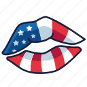 4th of july, independence day, kissing, lips, united states, usa