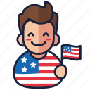 4th of july, boy, independence day, patriot, united states, usa icon