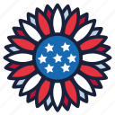 4th of july, independence day, sunflower, united states, usa icon
