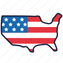 4th of july, independence day, map, united states, usa icon