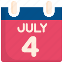 4th of july, calendar, holiday, independence, memorial, schedule, usa icon