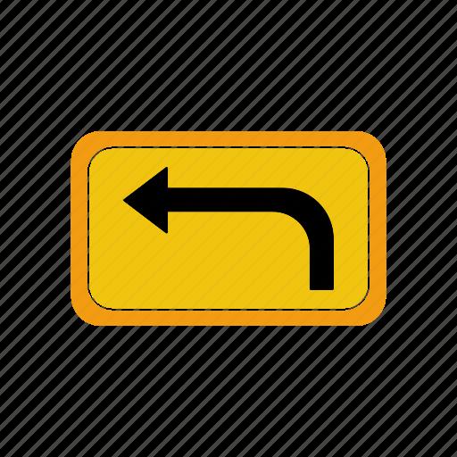 arrow, left, left turn ahead, sign, signal, turn icon