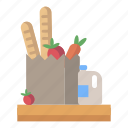 cooking, bread, shopping, basket, food, milk icon